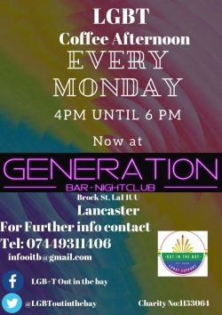 Lancaster LGBT Coffee Afternoon - Out in the Bay @ Generation Bar/Nightclub | England | United Kingdom