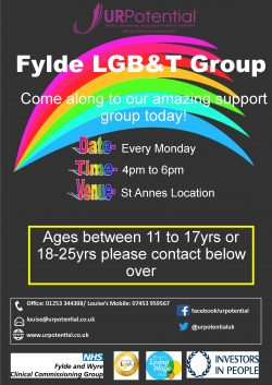 Fylde LGBT Young People's Group @ St Annes location - details on request