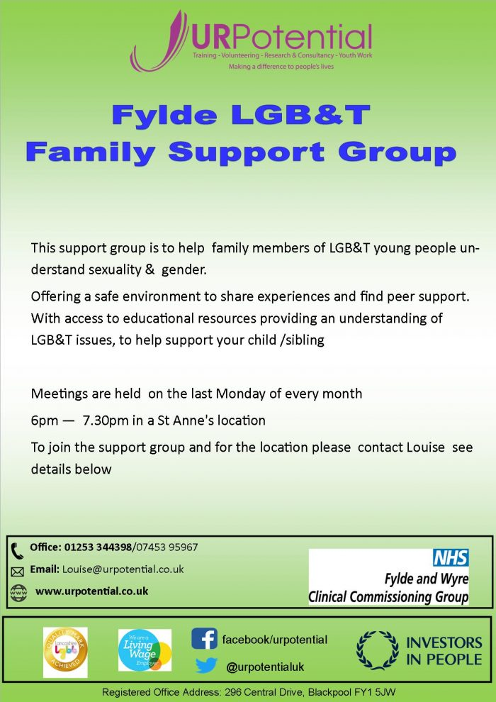 Fylde LGB&T Family Support Group - St Annes @ St Annes - details on request