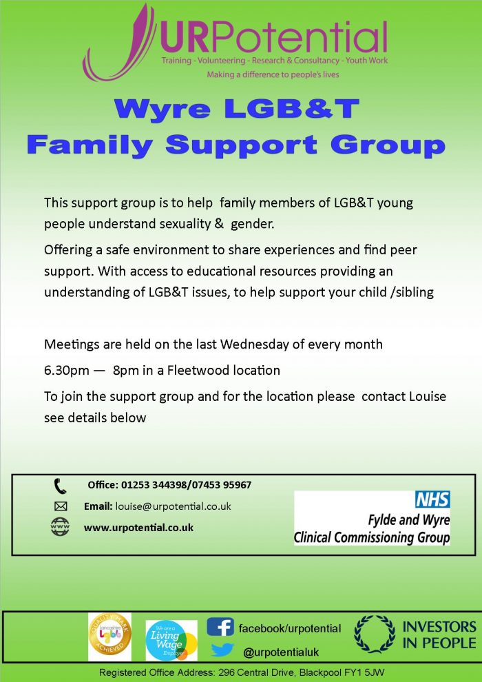 Wyre LGB&T Family Support Group @ Fleetwood location - please ask for details