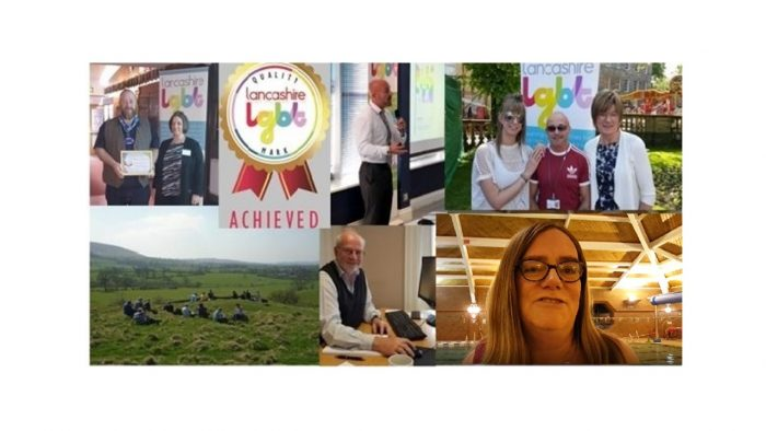 Collage of images of different aspects of our work, including training delivery, volunteers, Quality Mark presentation, Information and Support worker and swimming coach