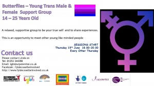 Butterflies young Trans group (14-25) - Blackpool area @ Please enquire for details of venue.