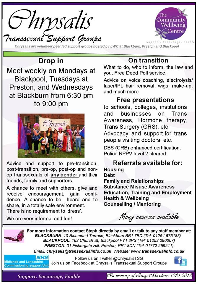 Chrysalis Blackpool Trans Group @ Women's Centre | Blackpool | England | United Kingdom