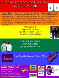 Blackpool & Fylde Coast LGBT Young People's Group (16-25) @ Fylde Coast Be Involved Project Office | Blackpool | United Kingdom